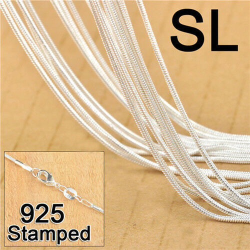 Silver 925 Snake Chain Necklace for Pendant Women Men Lobster Clasps Jewelry 20X