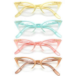 Cat-Eye-Retro-Eyeglasses-Stone-Color-Frame-Clear-Lens-Women-Fashion-Glasses