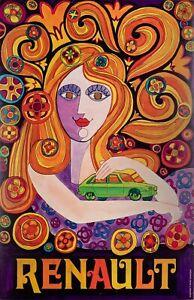 Original-Vintage-Poster-Renault-R16-Car-Psychedelic-Hippie-1970
