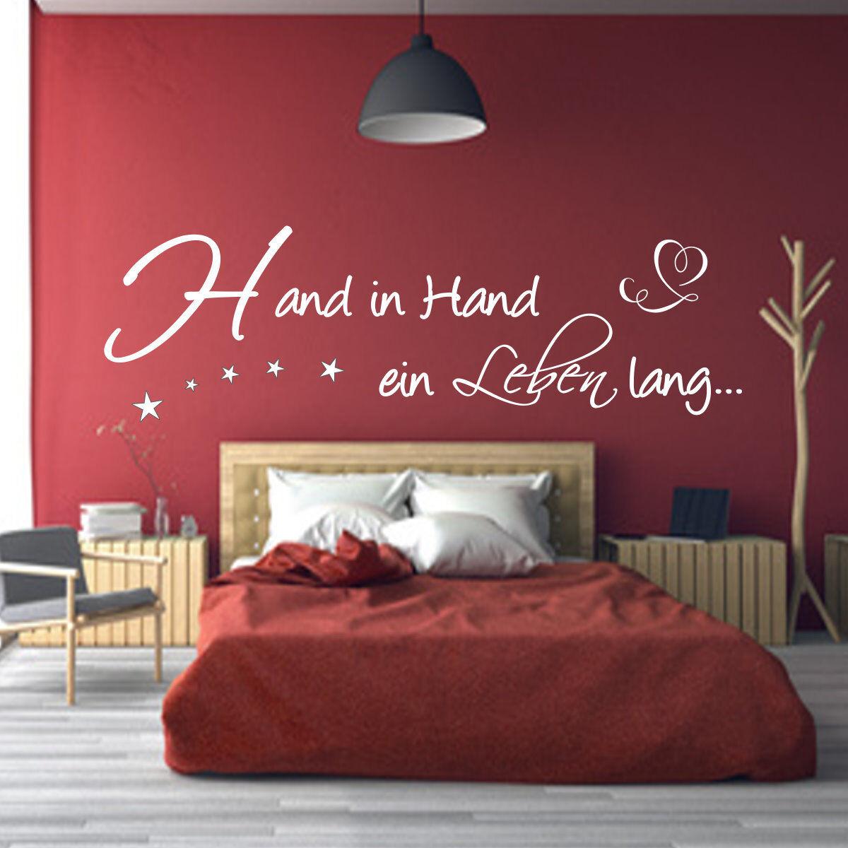 Wandtattoo AA101 Schlafzimmer  Hand in Hand... Spruch Hochzeit Wandaufkleber