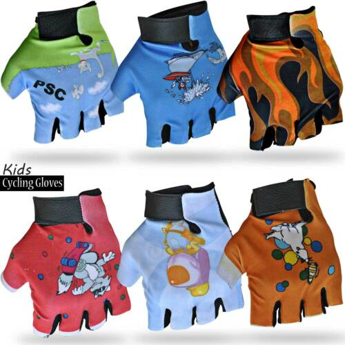 Kids Cycling Gloves Leather Padded Bicycle BMX Children Cycle Glove Ferrari Ride