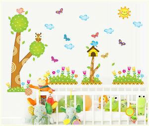 wandtattoo baum kinderzimmer wandsticker wandaufkleber blumen schmetterlinge ebay. Black Bedroom Furniture Sets. Home Design Ideas