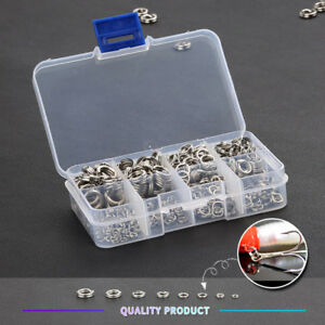 100Pcs-Fishing-Solid-Stainless-Steel-Snap-Split-Ring-Lure-Tackle-Connector