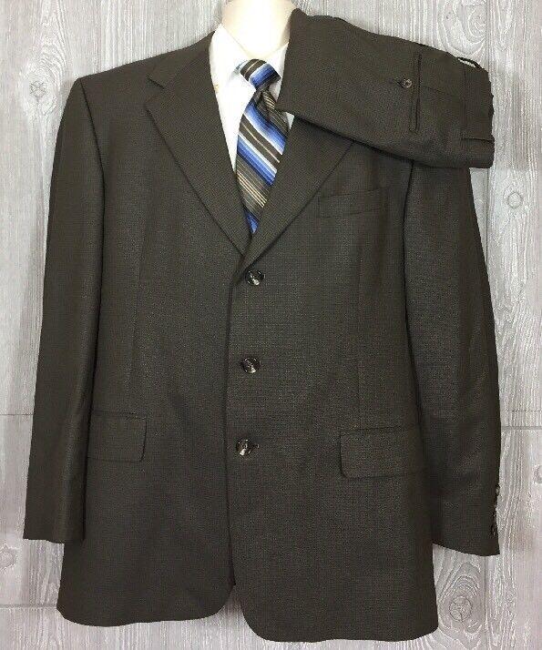 Hart Schaffner Marx  Herren Olive Wool 2pc Suit Sz 42R Pants 32x29 (t6)