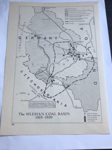 Map Silesian Coal Basin 1919-1939 /& European Frontiers 1919-1937 Maps Print