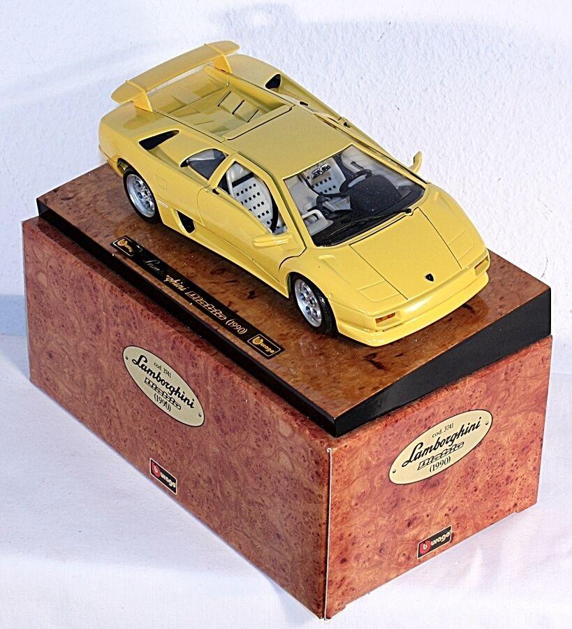 BBURAGO 3741, 1 18, Lamborghini Diablo (1990), su presentazione Brett  ab1009g