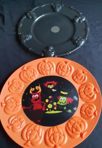 Orange Pumpkin Tray Halloween-Black//Orange Party Range-Black Skull Serving Tray