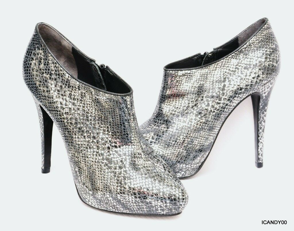 New Pour la Victoire BLAKE Snake Print Leather Boot Bootie Silver Black 9.5