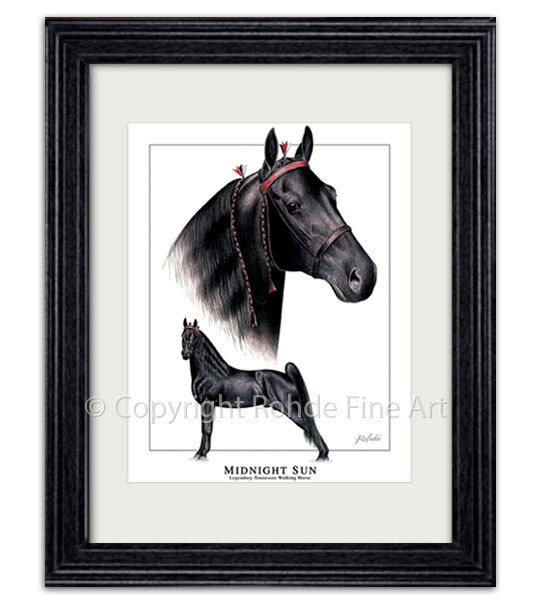 MIDNIGHT SUN - famous TENNESSEE WALKER WALKING HORSE FRAMED ART signed painting