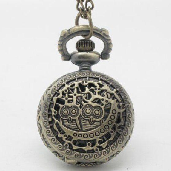 2 Eulen Im Nest Taschenuhr Kettenuhr Bronze Kette Eule Eulenuhr Uhu Kauz Exquisite (In) Verarbeitung