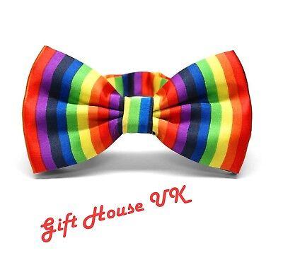 Rainbow Bow Tie Satin Adjustable Multi Colour Clown Gay Pride Fancy Dress style2