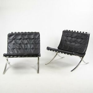 1950 S Museum Quality Knoll Mies Van Der Rohe Barcelona Chairs Stainless Pair Ebay