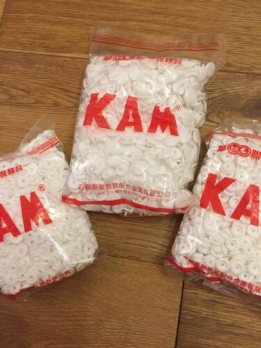 50 Kam Snaps White T5 Size 20 Plastic Studs//Poppers//Dummy Clips