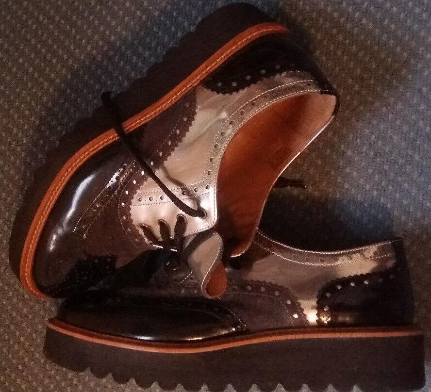 PERTINI Schuhe Schuhe Schuhe Leder schwarz silber Gr. 38 NEUWERTIG e0a607