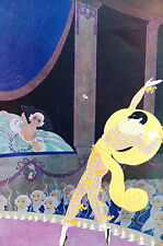 Erte 1929 MASKED HARLEQUIN w FLOWER Theater Actor Stage Matted Art Deco Print