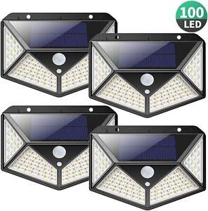 4X Solarleuchte Wandleuchte mit Bewegungsmelder 100LED Solarlampe Außenleuchte