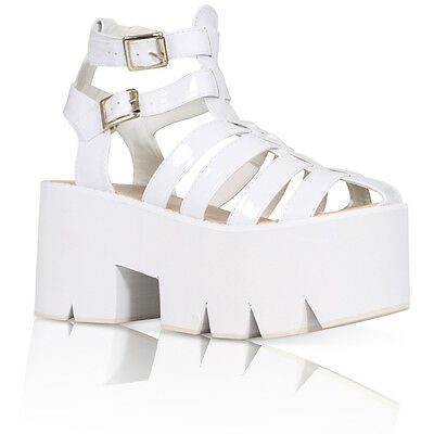 30af02b5287 WOMENS LADIES DOUBLE BUCKLE CLEATED SOLE HIGH HEEL CHUNKY PLATFORM SANDALS  SHOES