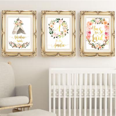 Tribal Boho Baby Girl Nursery Print Set, Personalised Girls Bedroom,  Bohemian. | eBay