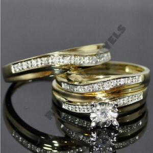 his-hers-14k-yellow-gold-finish-trio-set-engagement-ring-bridal-set-wedding-band