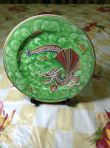 Hand-Painted-Dragon-Plate-Green