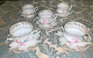 Antique O&EG Royal Austria Fine Bone China Teacup and Saucer (set of 5)