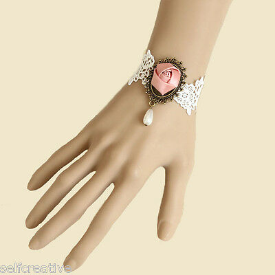 Womens Lolita Pink Flower Rose Lace Bead Drop Bronze Bracelet Bridal Party Goth