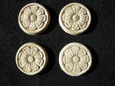 "50 Embossed Flower Design Wood Appliques - ONLAY -1 1/2"" wide"
