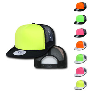 1 Dozen Decky Foam Mesh Flat Bill Neon Trucker Hats Caps Two Tone ... 26a27747c8d9