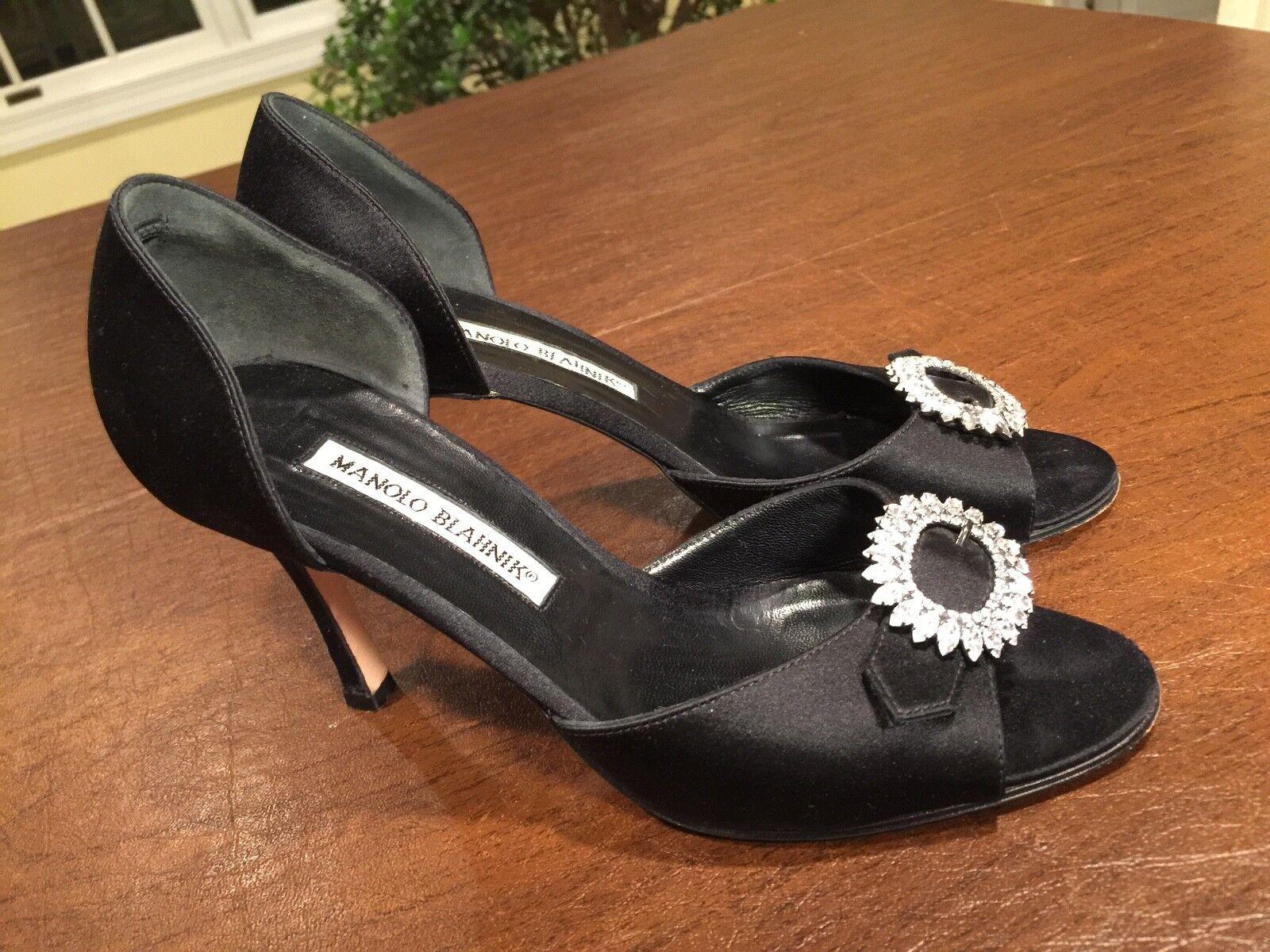 MANOLO BLAKIK  nero Satin D'Orsay Style Peep -Toe Sandals Heels Sz 5.5 EUR 35.5  fabbrica diretta