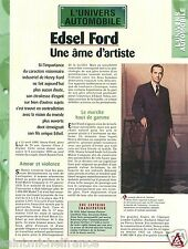 Edsel Bryant Ford Fils/Son Henry Ford President Mercury USA Car FICHE FRANCE