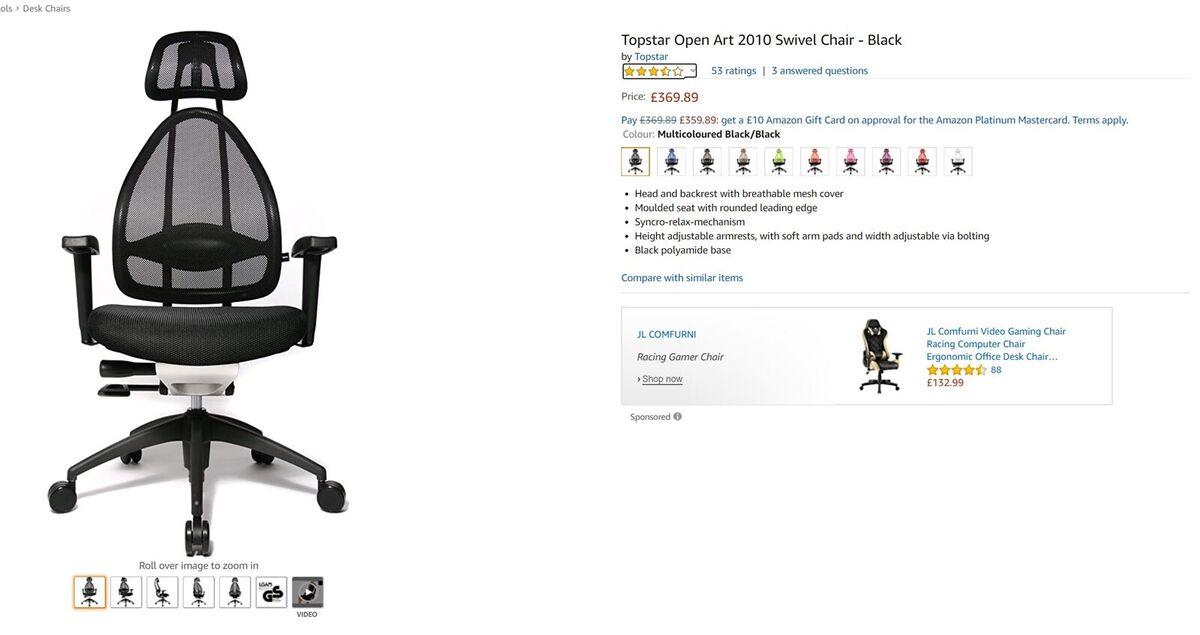 Kontorstol, NYT Topstar Open Art Swivel Chair, normal pri