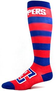Los Angeles Clippers Basketball Red Blue Striped Long Thin Crew Socks.