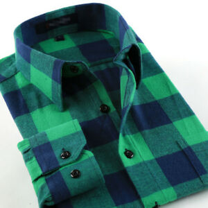 Mens-Shirts-Long-Sleeve-Button-Down-Casual-Plaid-Cotton-Flannel-Slim-Work-Shirt