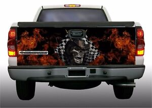 Flame Fire Checkered Racing Flag Skull Truck Tailgate