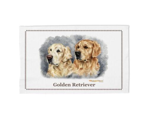 100/% Coton Torchon Portrait par Christine Varley Golden Retrievers cd66