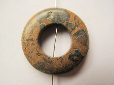 30mm Landscape stone tan brown & grey black donut pendant bead