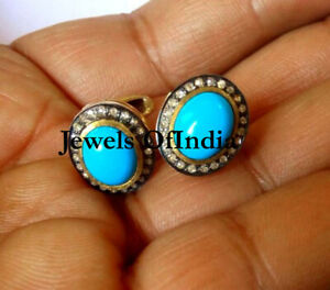 Natural Rose Cut Diamond & Turquoise 925 Sterling Silver Diamond Earrings