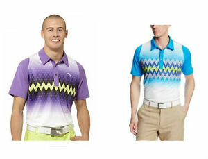 8666cc66 PUMA Golf Rickie Fowler Mens DOU SWING Graphic Stripe Polo Shirt NWT ...