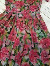 LuLaRoe L Large Amelia Dress Pink Roses Watercolor Print Beautiful! UNICORN! NEW