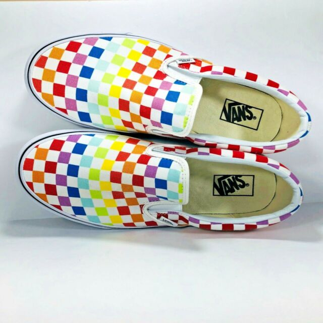 67cf1b18200f15 VANS Classic Slip On White Rainbow Multi Color Checkerboard Sneakers New  Size 11