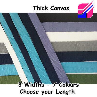 "Canvas 100/% Cotton 25mm 38mm 50mm Wide 1/"" 2/"" Inch Bag Strap Belt Webbing Thick"