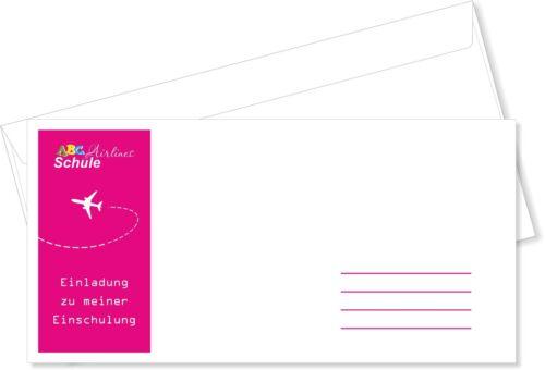 Briefumschläge DIN Lang Einschulung Pink Rosa Flugticket Umschlag mit Druck