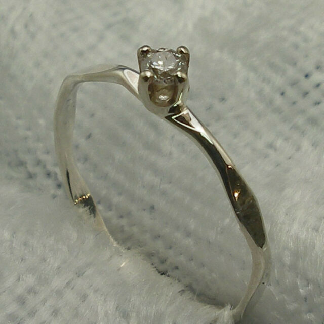 Diamond Baby Keepsake Ring, Hand Made Sterling, April Birthstone, sizes 00, 0, 1
