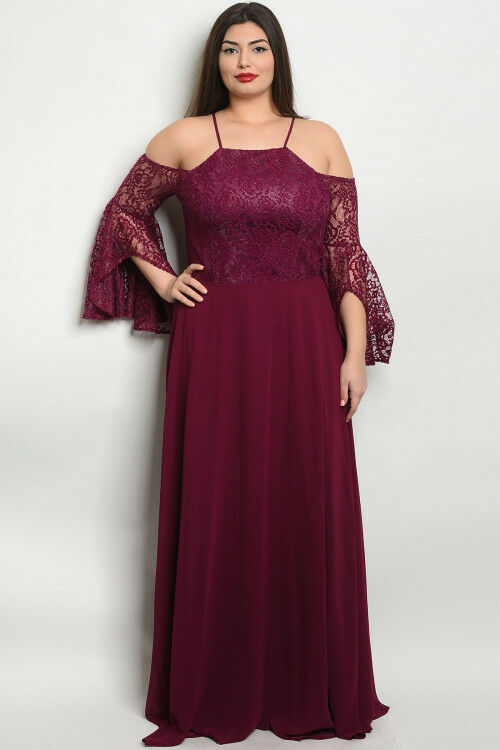 Womens Plus Size Plum Cold Shoulder Lace Bell Sleeve Maxi Dress Gown 2XL New