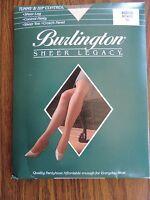 Burlington Pantyhose Off White Sz Medium Sheer Toe Control Top Nylon