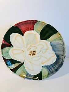 Bella-Ceramica-10-50-Dinner-Plate-White-Magnolia-Green-Blue-Background