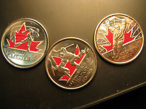 Canada-Vancouver-2010-Coloured-25-Cent-Coins-Coloured-Set