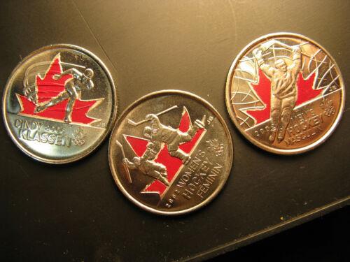 Canada Vancouver 2010 Coloured  25 Cent  Coins Coloured Set.