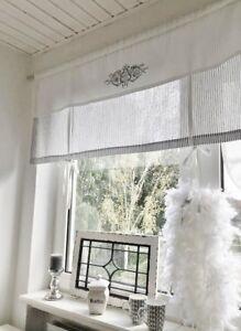 raffrollo gardine shabby gestreift grau o beige wei 80. Black Bedroom Furniture Sets. Home Design Ideas