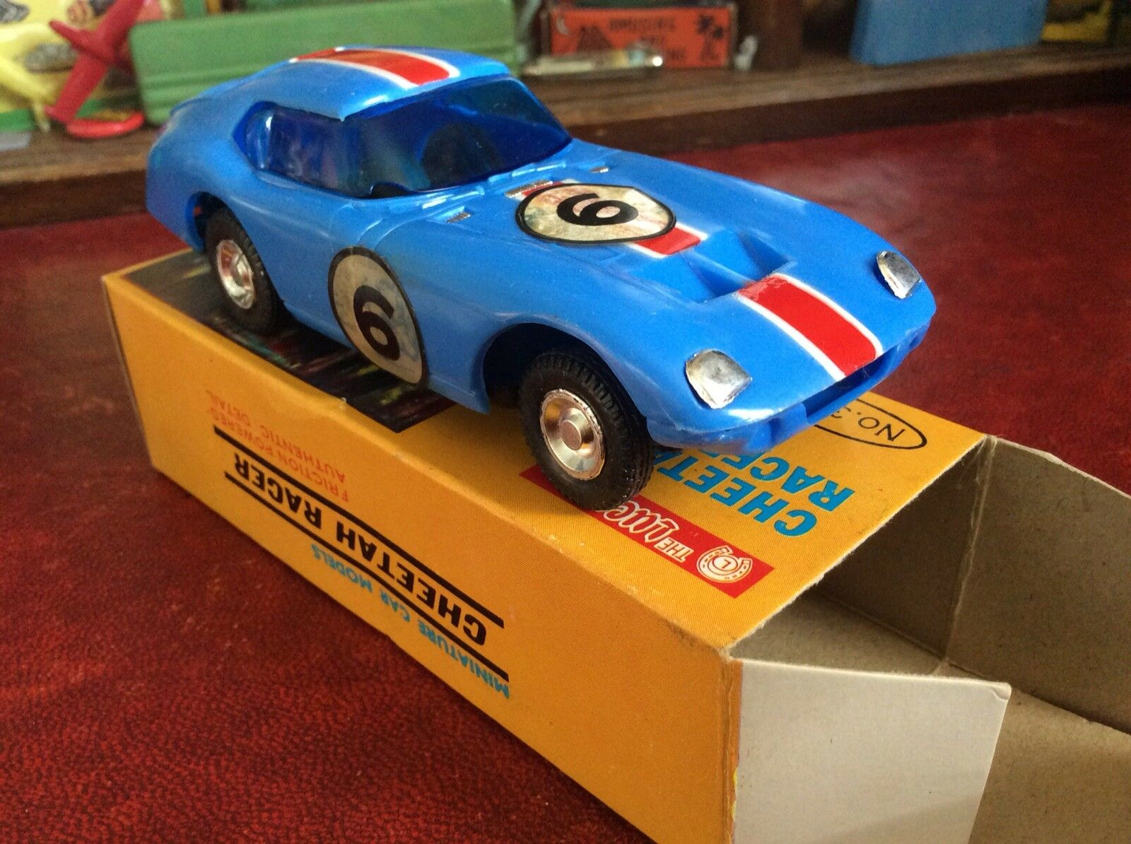 1960-talet Plastic Cheetah Racer Car Cw Box Excellent Lucky leksaks Hong Kong